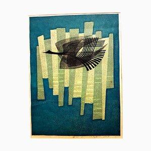 Fumio Fujita - Free Bird - Original Signed Engraving 1964