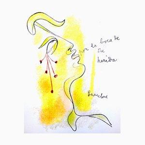Jean Cocteau - Profile - Original Lithographie von 1965