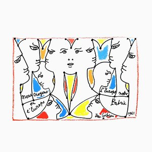 Lithographie Jean Cocteau - Europe Our Country - Original 1961