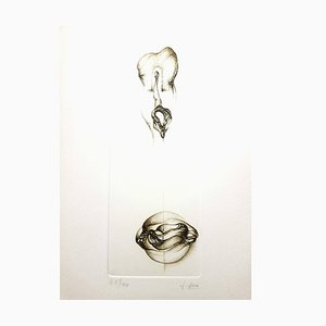 Aguafuerte original firmada Fred Deux - Grey Surrealism VI