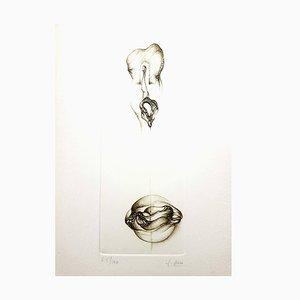 Fred Deux - Grey Surrealism VI - Signierte Originale Radierung