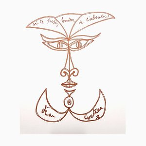Jean Cocteau - Surrealista Sorriso - Litografia originale, 1958