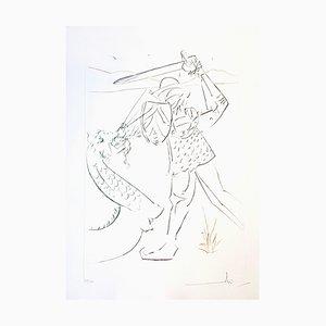 Grabado Salvador Dali - The Fall of Lancelot - 1975 Original firmado
