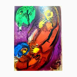 Lithographie Marc Chagall - Colorful Bible - Original Lithograph 1956