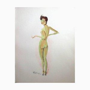 Domergue - Naked - Signierte Originallithographie von 1956