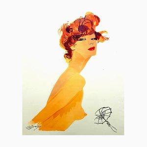 Lithographie Domergue - The Big Eyes - Lithographie Originale 1956