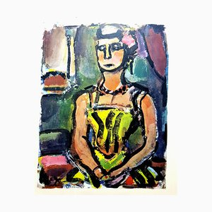After Georges Rouault - Woman Colorful Portrait - Lithograph 1943