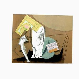 Nach Pablo Picasso - Nature Morte à la Pipe - Pochoir 1962