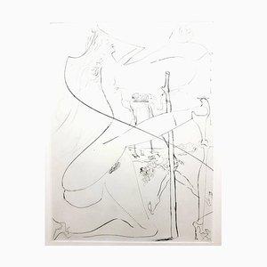 Salvador Dali - Venus in Pelzen - Original Briefstich mit eigenhändiger Radierung 1968