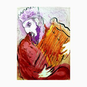 Marc Chagall - Colorful Bible King - Original Lithograph 1956