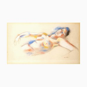 André Lhote - Original Signed Pastel - Lying Woman Circa 1920
