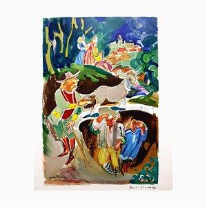 André Planson - Französische Provinz - Handsignierte Original Lithographie 1960er Jahre
