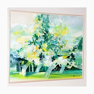 Camille Hilaire - Árboles verdes - Acuarela original firmada, años 70