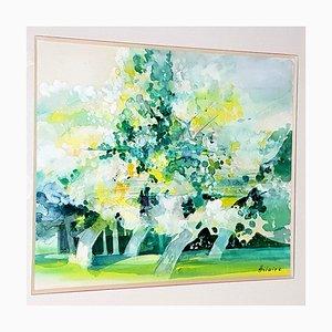 Camille Hilaire - Green Trees - Aquarelle Signée Originale 1970s