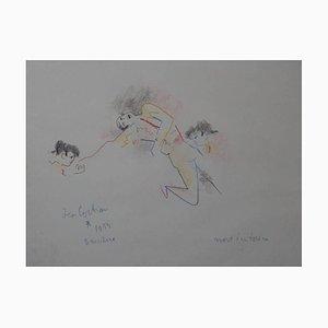 Jean Cocteau - Originalzeichnung - Tod eines Stierkämpfers 1955