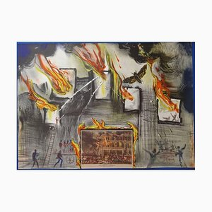 Salvador Dali - Currier & Ives : Life of a Fireman - Original Signed Lithograph 1971