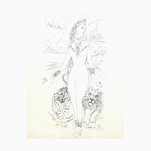 Leonard Foujita - Frau mit Felines - Original-Gravur