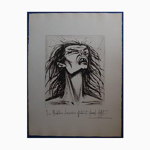 Bernard Buffet - L'Enfer - Figure Edentée - Original Signed Lithograph 1976