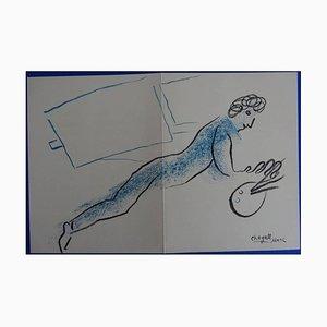Lithographie de Marc Chagall - The Blue Painter - Lithographie Originale