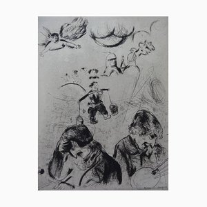 Marc Chagall - Les âmes mortes - Original Engraving 1950