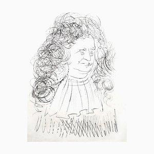 Salvador Dali - Portrait La Fontaine - Gravure Signée 1974