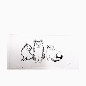 Leonor Fini - Cats Trio - Original Hand-Signed Etching 1985