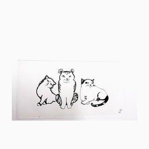 Trio de Cats Leonor Fini - Original 1985 Gravure Signée à la Main