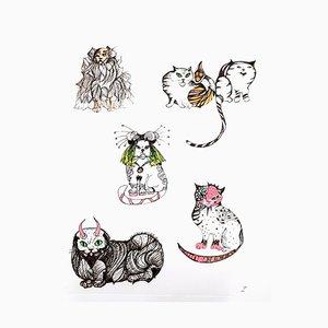 Chats Leonor Fini - Surrealistic Cats - Original Etching 1985