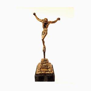 large gilded bronze sculpture - Christ de Saint Jean-de-la-Croix 1974