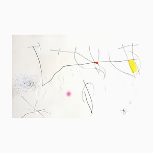 Joan Miro - L'Issue Dérobée: Ein Teller - Original Aquatinta 1974