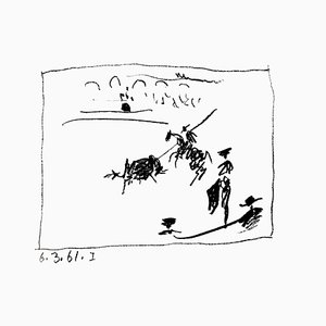 Litografia originale, 1961. Pablo Picasso - La Pique, from '' A los toros avec Picasso ''