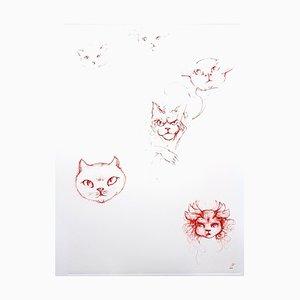 Acquaforte originale Leonor Fini - Red Cats 1985