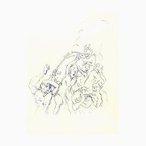 Tsuhugaru Foujita - Miedo - Dibujo original, 1957