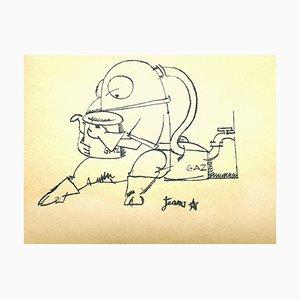 Jean Cocteau - Gaz - Signierte Originale Zeichnung