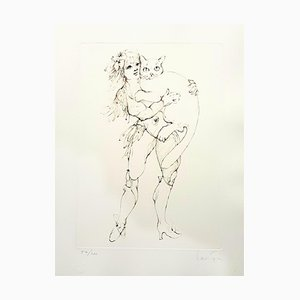 Leonor Fini - The Cat and the Woman - Original Handsigned Lithograph 1986