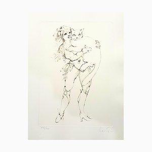 Litografia originale Leonor Fini - The Cat and the Woman 1986