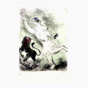 Gravure à l'Eau Forte originale de Marc Chagall - David and the Lion 1958