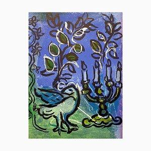 Lithographie de Marc Chagall - The Candlestick - Original Lithograph 1962