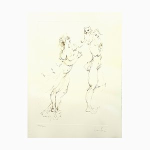 Leonor Fini - Playful Cat - Original Handsignierte Lithographie 1986