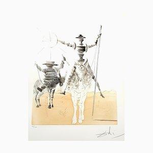 Acquaforte Salvador Dali - Don Quixote and Sancho - Original Hand Signed 1980