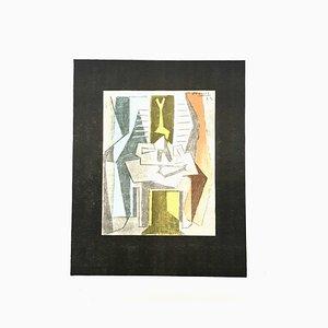 Mesa Pablo Picasso (después) - Litografía 1946 de mesa delante de Winfow