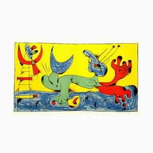 Photographie Joan Miro - Playing Dog - Lithographie Couleurs 1956