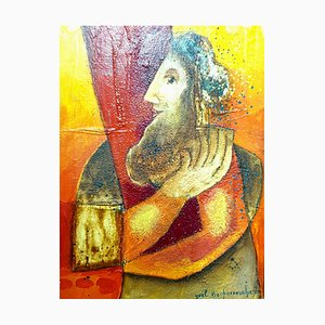 Yoel Benharrouche - The Wise Man of Time - Huile sur Toile 2000s