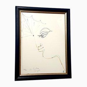 Litografía original Jean Cocteau - Woman - original 1957