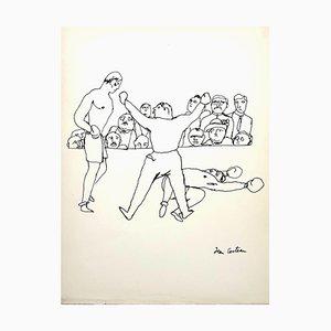 Jean Cocteau - The Fight - Signierte originale Zeichnung von 1923