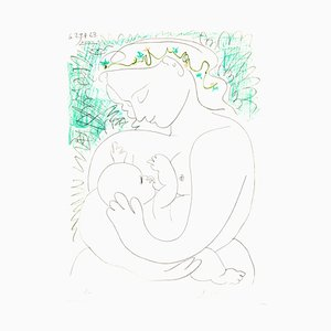 After Pablo Picasso - Handsignierte Lithografie - Maternity 1963