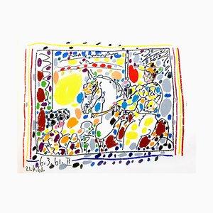 Litografia originale 1961 di Pablo Picasso - Toros