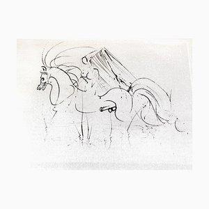 Salvador Dali - Akt Reiten - Original Radierung auf Seide 1968