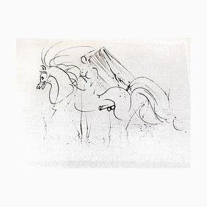 Salvador Dali - Nude Riding - Original Etching on Silk 1968
