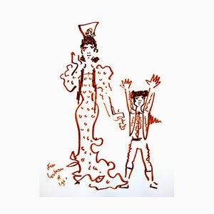 Jean Cocteau - Mutter und Sohn - Original 1965 Lithographie